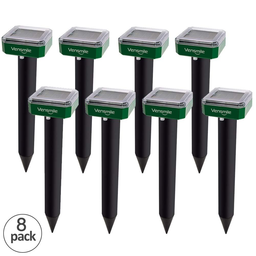 VENSMILE 8 x Mole Repellent Solar Sonic Mole Repeller Gopher and Vole Chaser Spike Deterrent Traps Control Groundhog Away from Lawn and Garden (8)