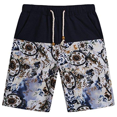 YAANCUN Hombre Algodón Pantalones De Playa Pantalones Cortos Holgados Del Día De Fiesta De La Playa Como la imagen 7