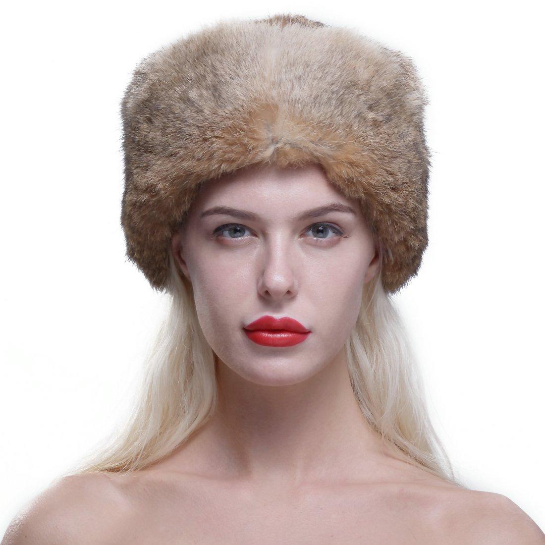 URSFUR Genuine Rabbit Fur Davy Crockett帽子Coonskin Cap with Raccoon Tail One Size ブラウン B01MEHOZXL