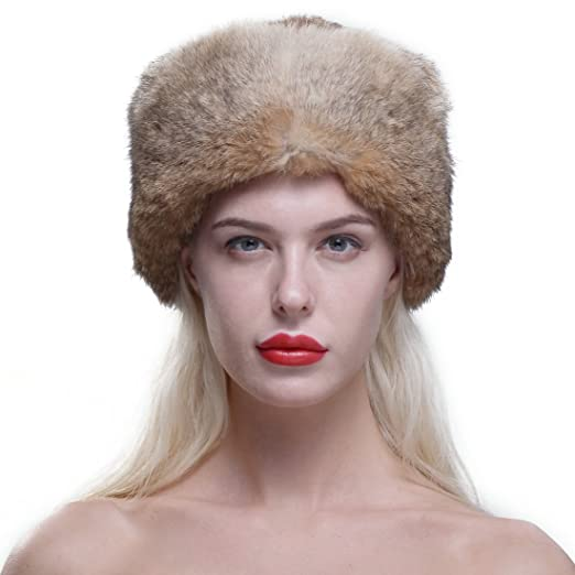 URSFUR Genuine Rabbit Fur Davy Crockett Hat Coonskin Cap with Raccoon Tail  Brown e7f7a660ab0f