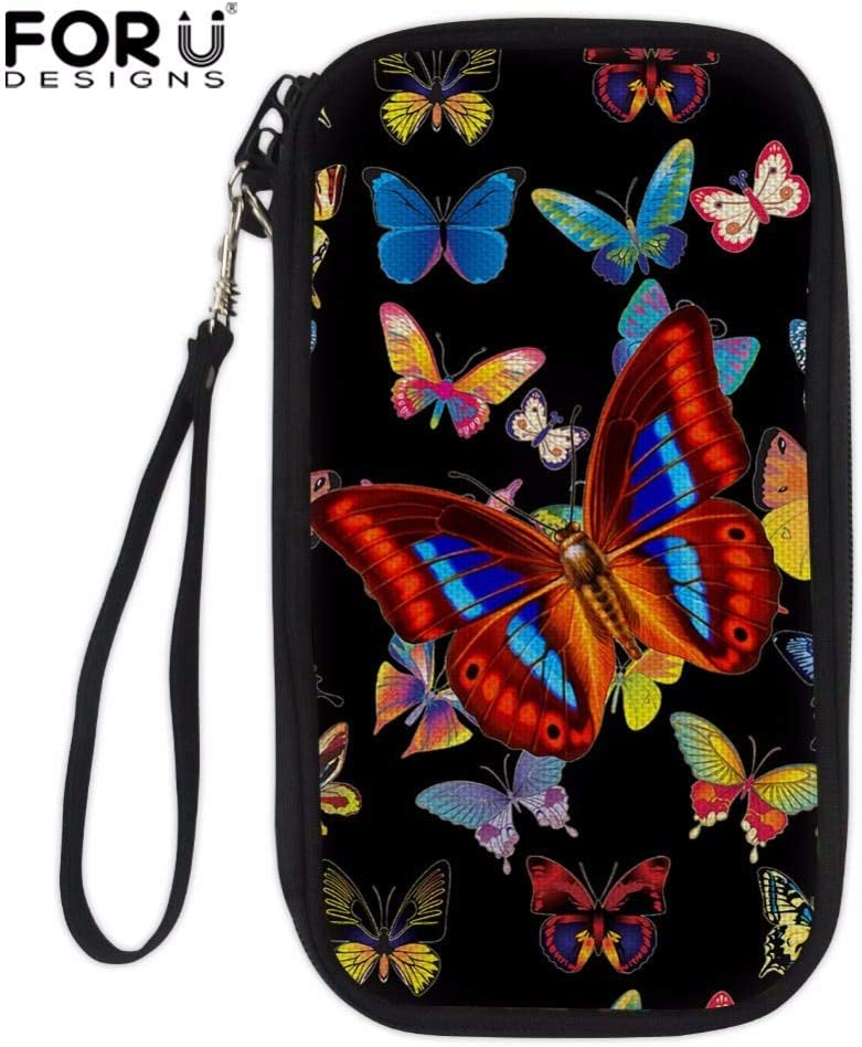 TZY Professional Butterfly Print Women Passport Cover Girls Card Crossbody Bag Ladies Hand Holding Wallet Multifunction Money Bag