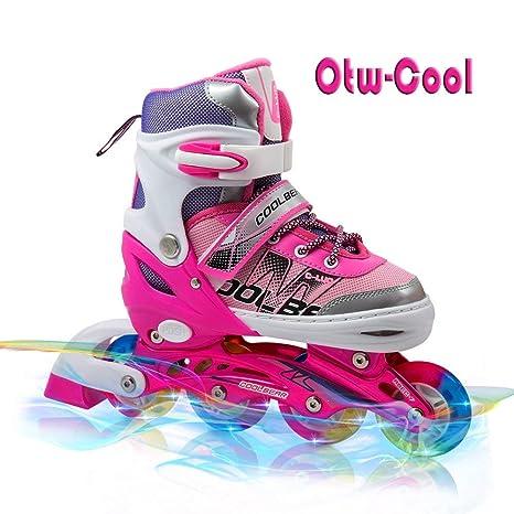Roller Skates Amazon Com >> Otw Cool Adjustable Inline Skates For Kids Girls Roller Skates With All Wheels Light Up Safe And Durable Inline Roller Skates For Girls