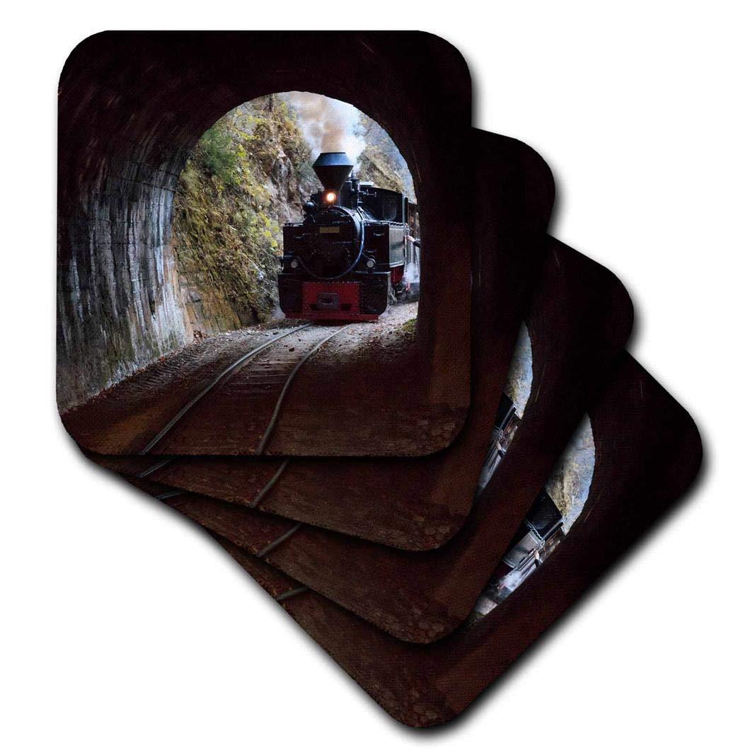 3dRose Danita Delimont - トレイン - ルーマニア、ヴェイザーバレー鉄道、スチームトレインがトンネルに入っています。 - コースター。 set-of-4-Soft cst_277882_1 set-of-4-Soft  B07BHLV9G7