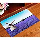 SU@DA Carpet Mat Kitchen Bathroom Anti-skid Living room Foot pad 3D Printing , lavender , 40*60