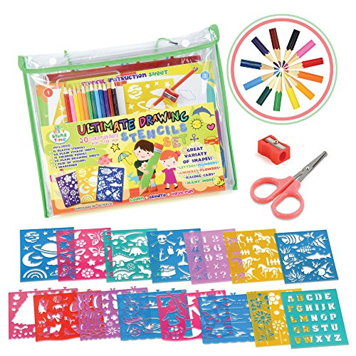 Any Occasion Kits - STENZTIME Ultimate Stencil Set | Large 70 Piece Stencil Drawing Kit and Over 260 Shapes | Ideal Educational Toy and Creativity Kit |The Perfect Kids Gift for any occasion!