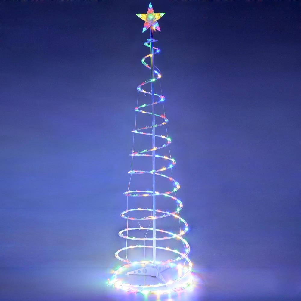 amazoncom yescom 6ft led spiral christmas tree light 182 bulbs indoor outdoor yard multi color art decoration lamp home kitchen