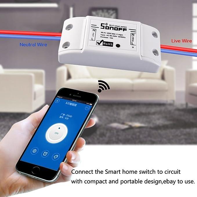 Aihasd 3PCS Sonoff Basic 10A Bricolaje Inteligente WiFi General Modificación de Control Remoto de Potencia Cierre APP controlado für Smart Home: Amazon.es: ...