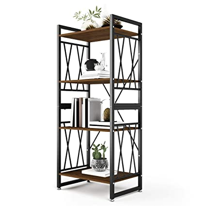 96d2ebd5a1b DEWEL 4-Shelf Bookshelf Vintage Industrial Rustic Bookshelf Rack Metal and  Wood Bookcase 55
