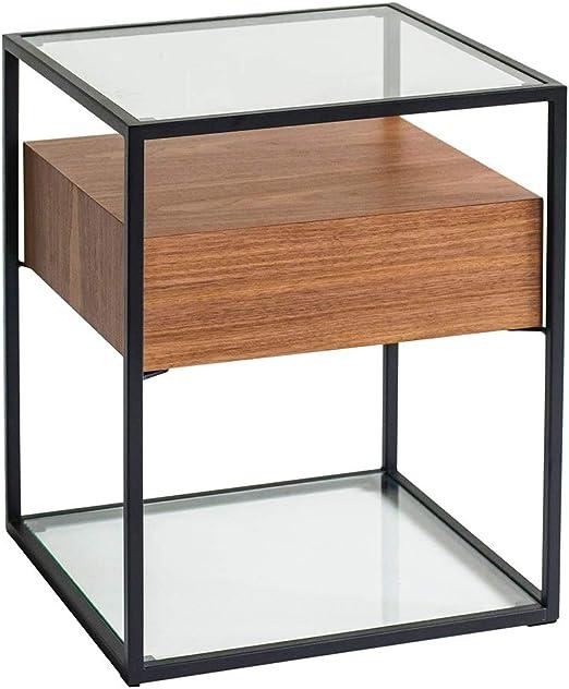 Mesas de café gabinete de Mesa de Vidrio Cajón de Madera Sala de ...