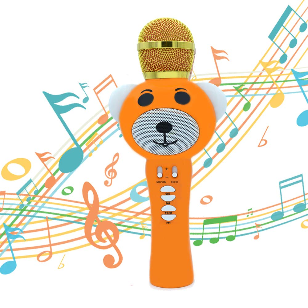 Upgraded 2019 Version Kids Karaoke Microphone with Bluetooth, Magic Voice Changer, and Flashing Multicolored LED Lights (Orange) by Garoma (Image #1)