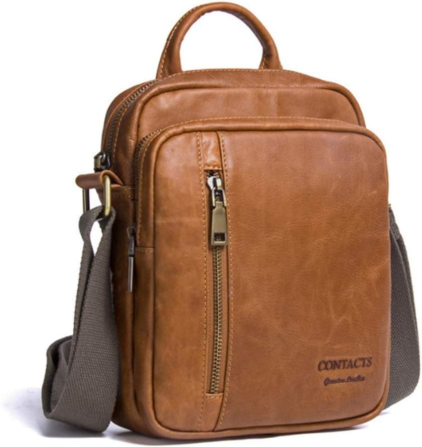 Color : Brass, Size : M GROSSARTIG Mens Shoulder Bag Leather Hand Bag Diagonal Bag Fashion Casual Leather