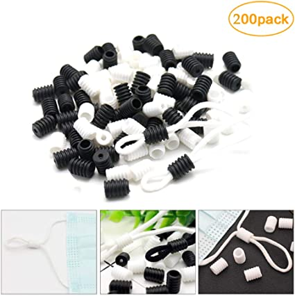 100PCS White Black Cord Locks Soft Plastic Silicone Round Elastic Mask Adjustment Buckle Adult Children Elastic Adjustment Accessories