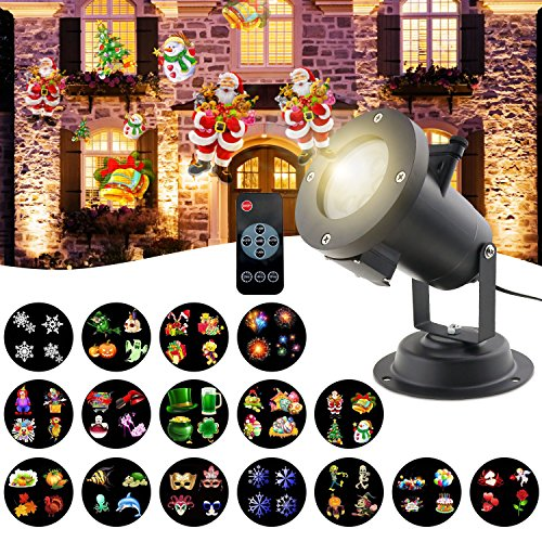Christmas Light Projector,Sanmersen LED Snowflake Holiday Projector Upgrade 16PCS Pattern Xmas Projector Landscape Lighting Lamp Remote and IP65 Waterproof for Christmas Holiday Party Decoration