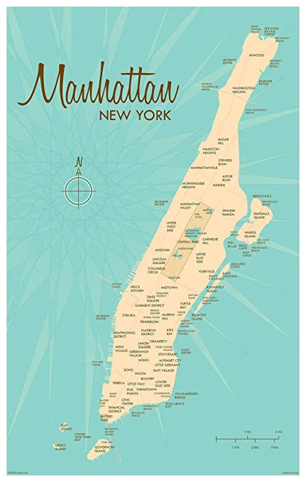 photograph about Printable Maps of Manhattan identified as : Manhattan Typical-Structure Artwork Print via Lakebound