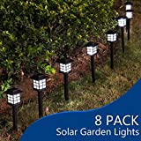 YUNLIGHTS 8pcs Garden Solar Stake Lights Outdoor Solar Pathway Lights Waterproof Solar Landscape Lights for Garden, Path, Yard, Patio, Driveway, Walkway, Lawn – White Review