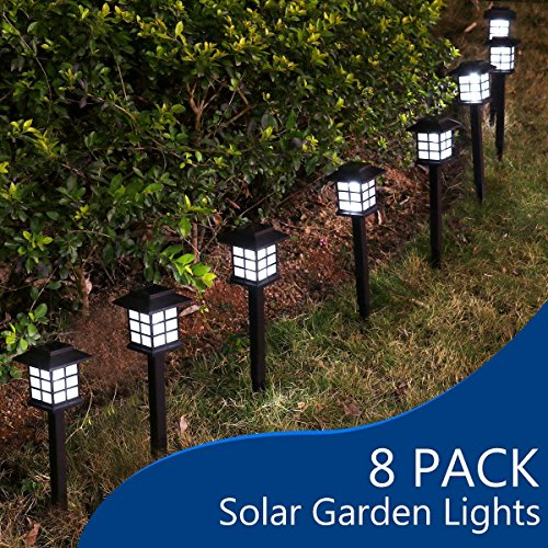 YUNLIGHTS 8pcs Garden Solar Stake Lights Outdoor Solar Pathway Lights Waterproof Solar Landscape Lights for Garden, Path, Yard, Patio, Driveway, Walkway, Lawn - White]()