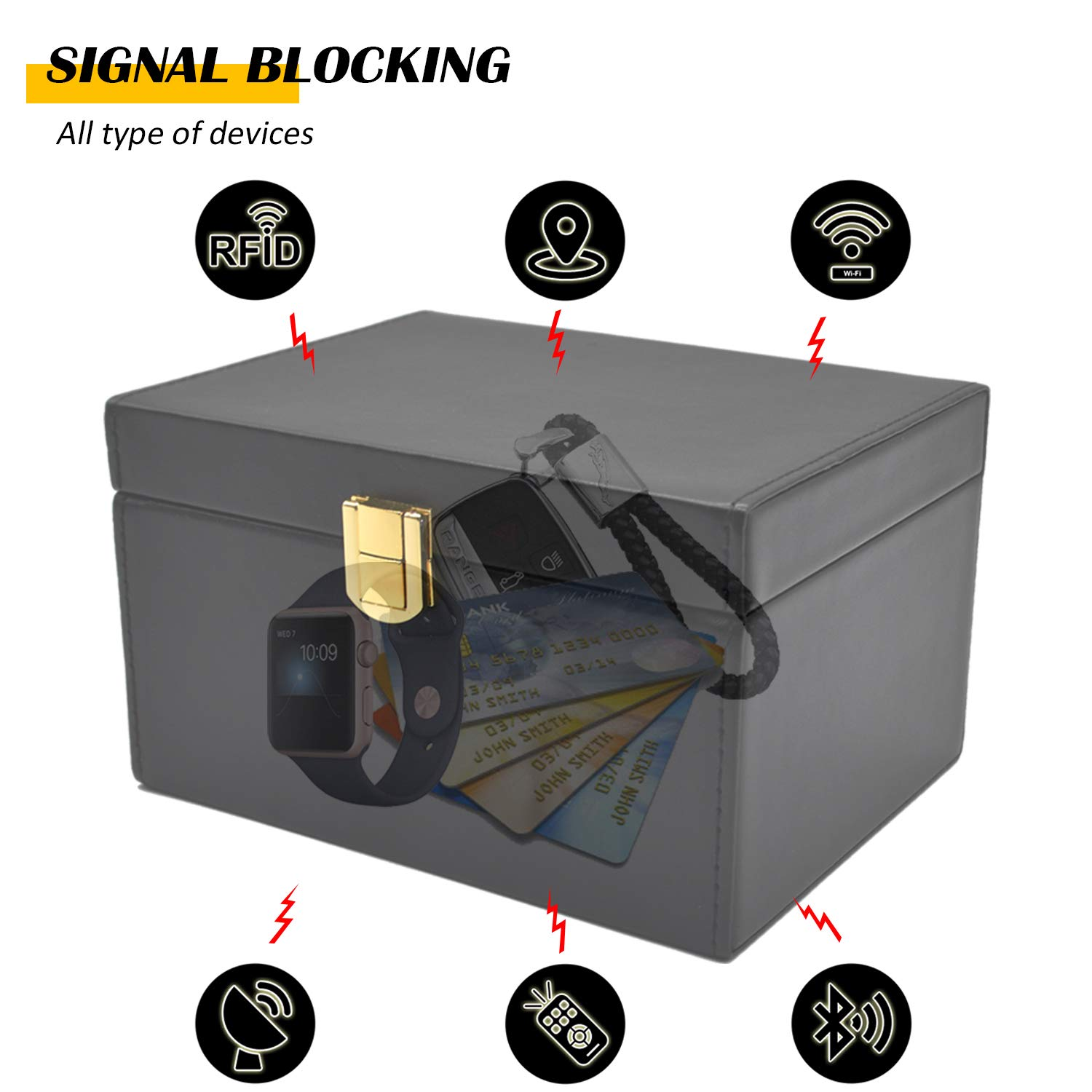 RFID Signal Blocking Box Faraday Bag Signal Blocking Bag Shielding Pouch Wallet Case for Car Key Faraday Key Fob Protector Box