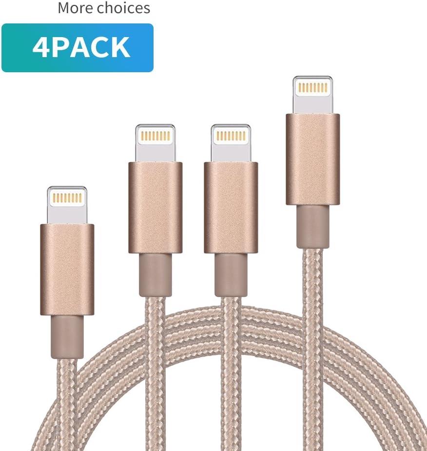 yrgyrjmisn IphoneケーブルExtra Long iPhone充電コード、データ同期、4pack [ 91センチ6 ft 6 ft 10 ft ]ナイロン編組USB充電器for iPhone X/8 /8 Plus/7 /7 Plus/6 /6s Plus/5s/5、iPadなど、(ゴールド)