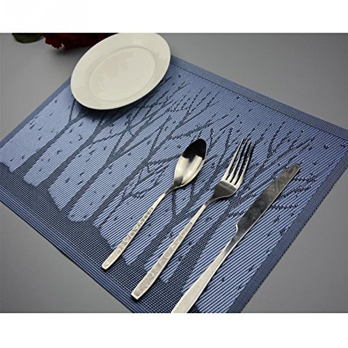 Home Product 4 Pieces Of Tree Branches Pattern Western Style Non-Slip Placemat High Temperature