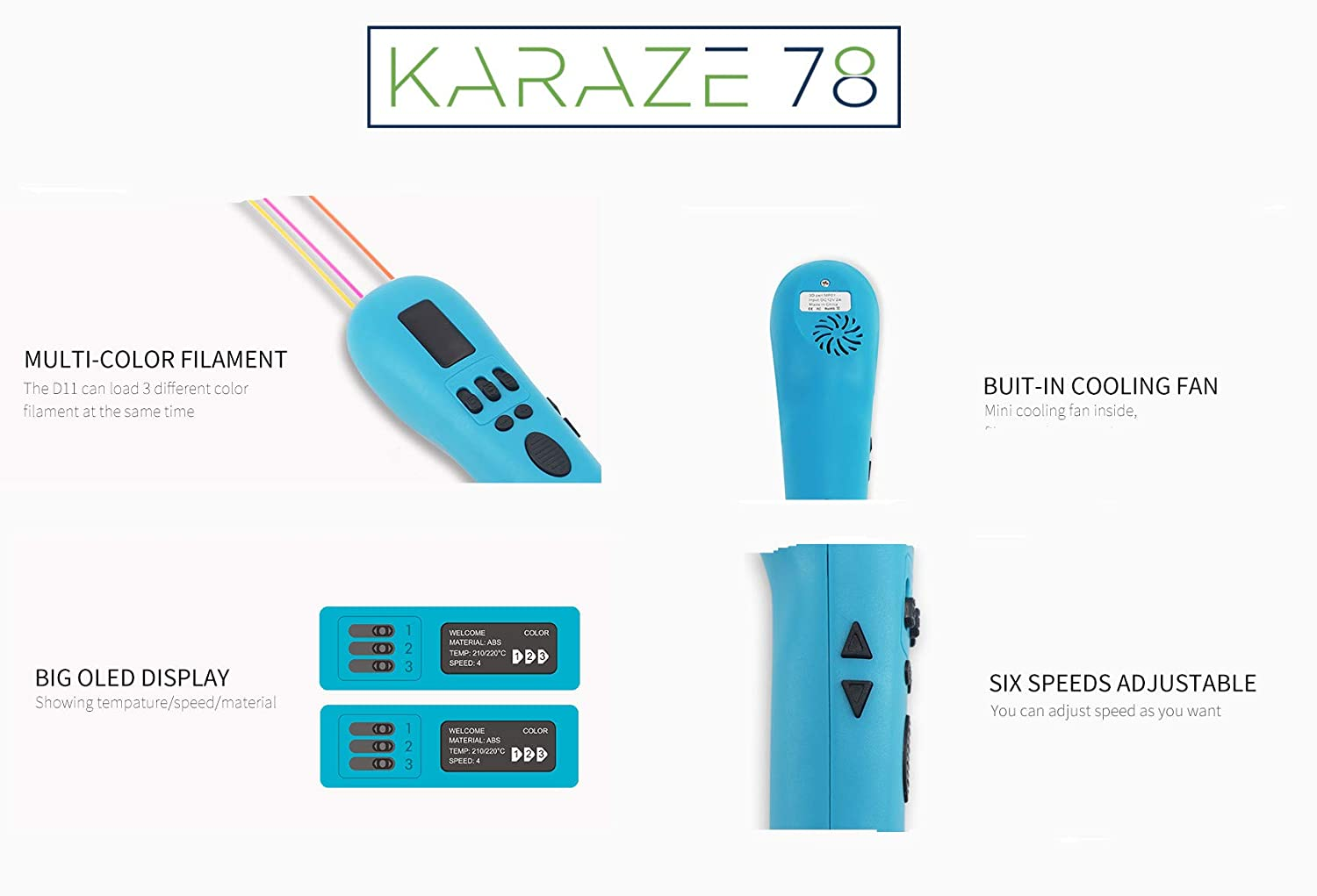 Compatible with PLA ABS Mode 3 Colors Filament at The Same time with 1-Second Switch Between Colors 3D Pen from Karaze 78 White Dewang 3D Printing Pen with OLED Screen