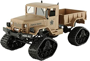RC Military Truck Army 4WD Tracked Wheels Crawler Off-Road Car RTR Toy