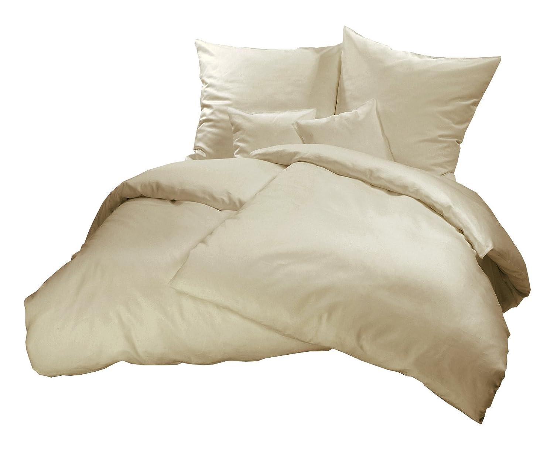 Carpe Sonno kuschelige Paar-Betwäsche 240 x 220 cm einfarbig in creme - Biberbettwäsche mit Reißverschluss aus 100% Baumwolle Flanell - edles Bettwäsche Set 3-tlg mit 2 Kopfkissenbezügen