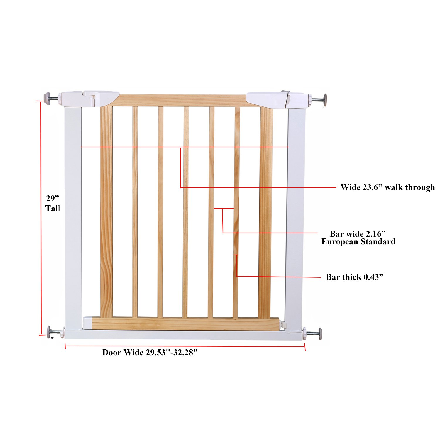 Fairy Baby Multi Use Wood & Metal Walk Thru Gate,White,Fit Spaces between 29.53''-32.28'' by Fairy Baby (Image #7)