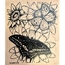 Painted Sunflower With Two Butterflies Rubber Stamp Wood Mounted by Northwoods Rubber Stamps, Inc. P7286