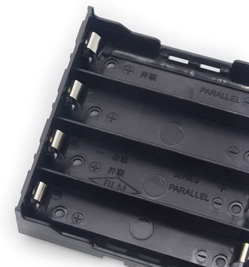 2pcs 18650 Charging 4 Bay Cell Battery Holder,18650 Battery Storage Case Plastic Box Holder Leads with 4 Slots for Wire Leads