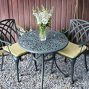 Jill Mesita de Jardín y 2 Sillas April en Gris Pizarra sin Cojines | Lazy Susan Muebles de Jardín: Amazon.es: Jardín