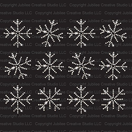 (Set of 12 Small Frozen Snowflakes Iron On Rhinestone Crystal T-shirt Transfers by JCS Rhinestones)
