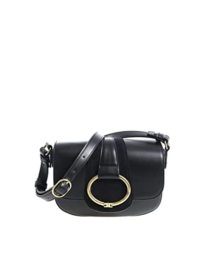 137baa5072 Elisabetta Franchi Women s Bs52a87e2110 Black Faux Leather Shoulder Bag   Amazon.co.uk  Clothing