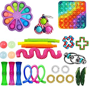 xjzjy Toy Packs Figet Toys Set Fidget with Simples-Dimples Push Pop Bubble DNA Stress Relive Balls for Kids Adults ADHD ADD Anxiety Autism (27PCS)-4
