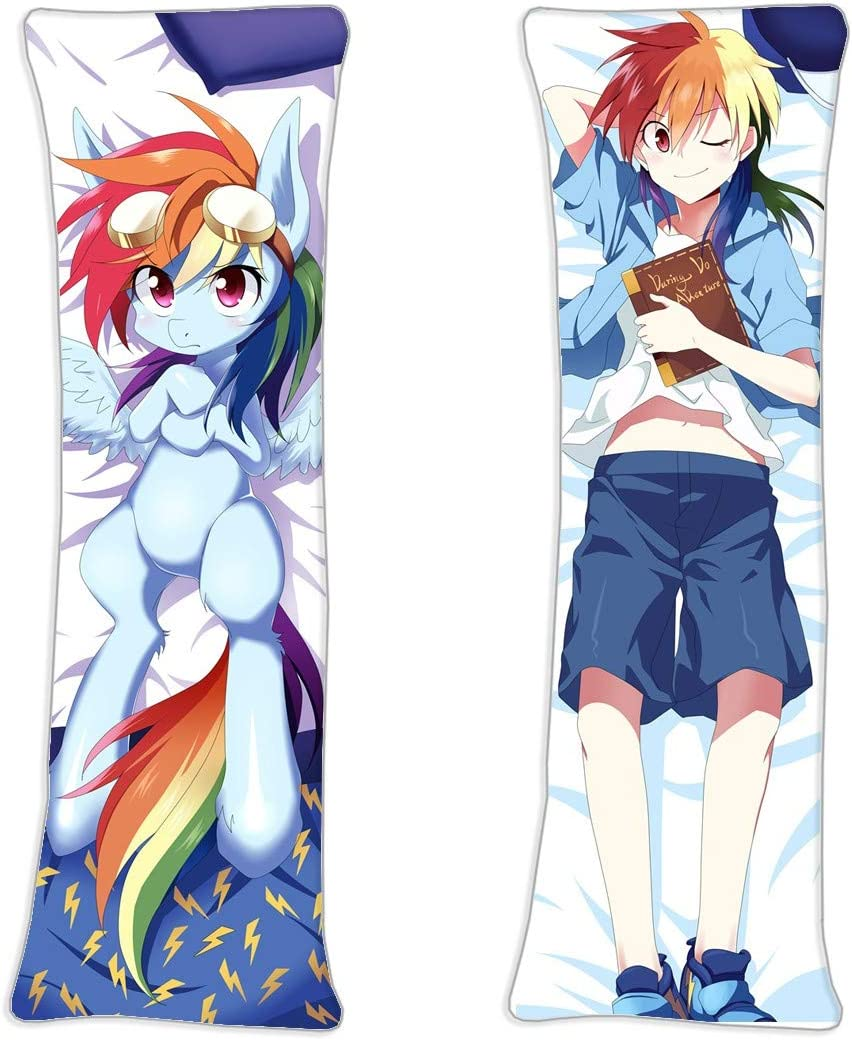 My Little Pony Rainbow Dash MLP Male Anime Darling Hugs Covered Zipper Body Pillow Case, Soft Cover Double Sided Throw 2Way Tricot 150 x 50cm(59in x 19.6in) Pillowcase
