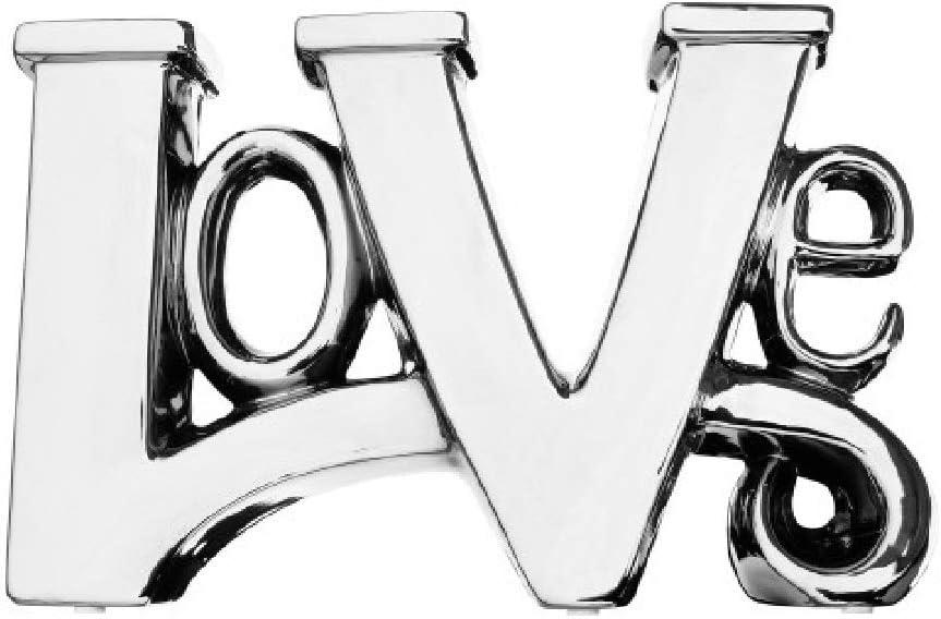 Britalia AMO2002 Amore Silver Platinum Ceramic Love Word Sculpture Height 205mm x Width 320mm x Depth 70mm