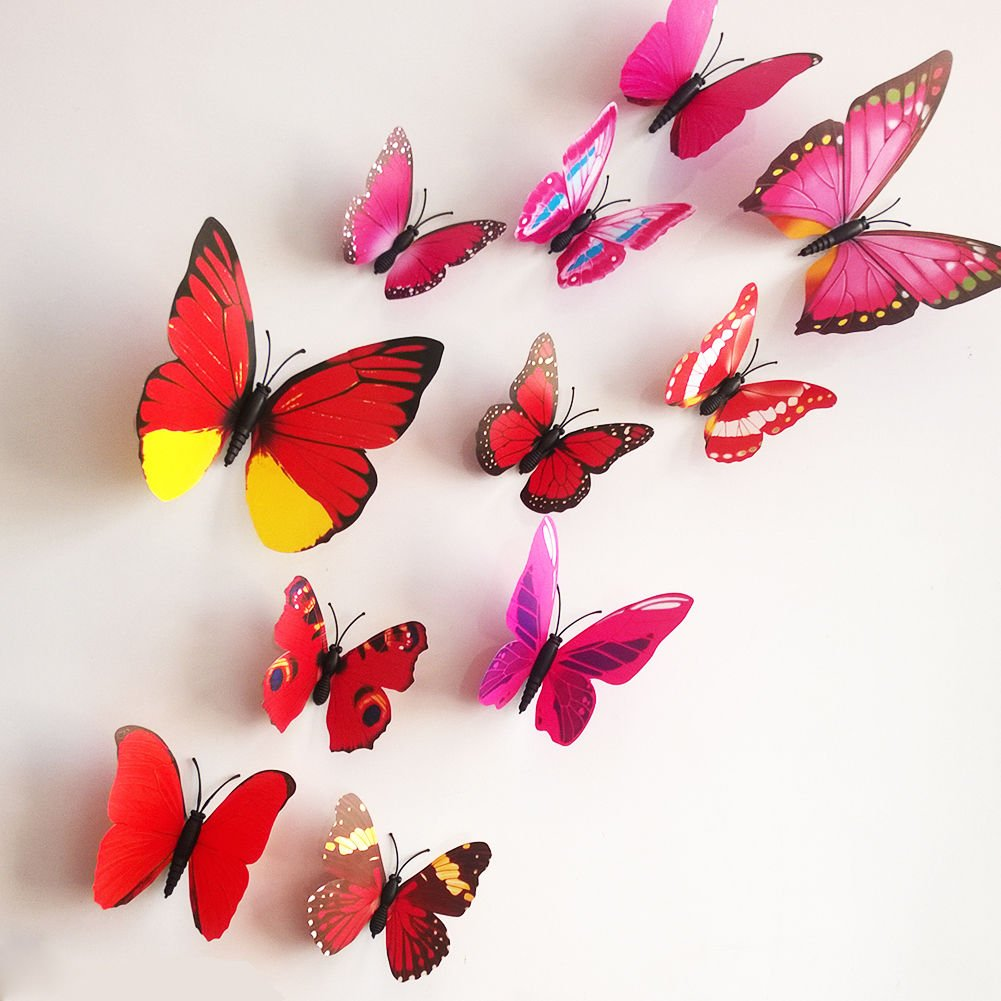 12 Pieces 3D Butterfly Stickrs Fashion Design DIY Wall Decoration House Decoration Babyroom Decoration-RED Doyeemei