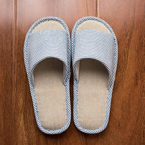 LYMMC House Slippers,Women's and Men's Cotton Causal Soft Slippers Anti-Slip for Indoor and Outdoor (Blue) by LYMMC (Image #2)
