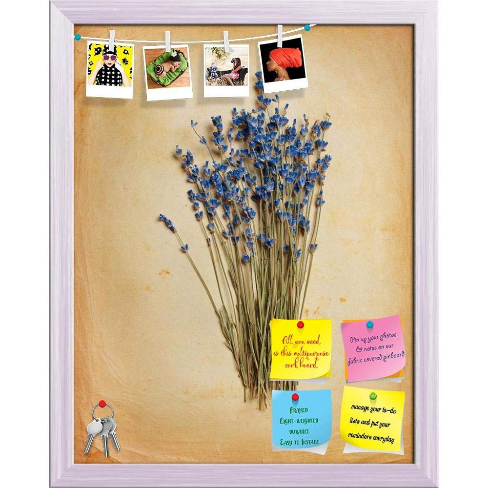 ArtzFolio Bouquet Of Dried Lavender On Old Paper Printed Bulletin Board Notice Pin Board cum Weiß Framed Painting 12 x 15.2inch