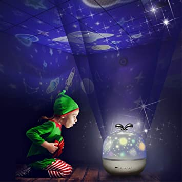 Baby LED Nachtlicht Einschlafhilfe mit Projektor Sternenhimmel Kinder Nachtlampe