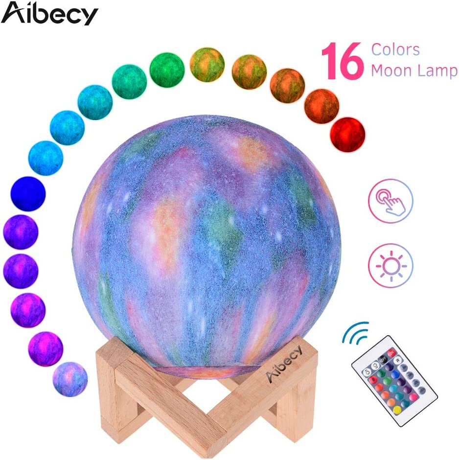 Aibecy LED Moon Lamp Moon Night Light 3D Printed Large Lunar Lamp with Stand USB Cable 16 Glowing Colors Home Light for Children Women Halloween Christmas Birthday Gifts Diameter 18cm/7.1in