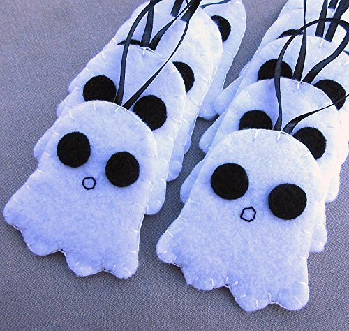 10 cute ghost ornaments, spooky Halloween party favors, white poltergeist by PeachPod Handmade
