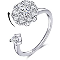 (White Gold Plated Base) - Bling Toman Adjustable Wrap Open Ring Anti-Anxiety Spinner Rotating Ring Cubic Zirconia Solitaire Wedding Engagement Rings Relieving Boredom ADHD & Autism