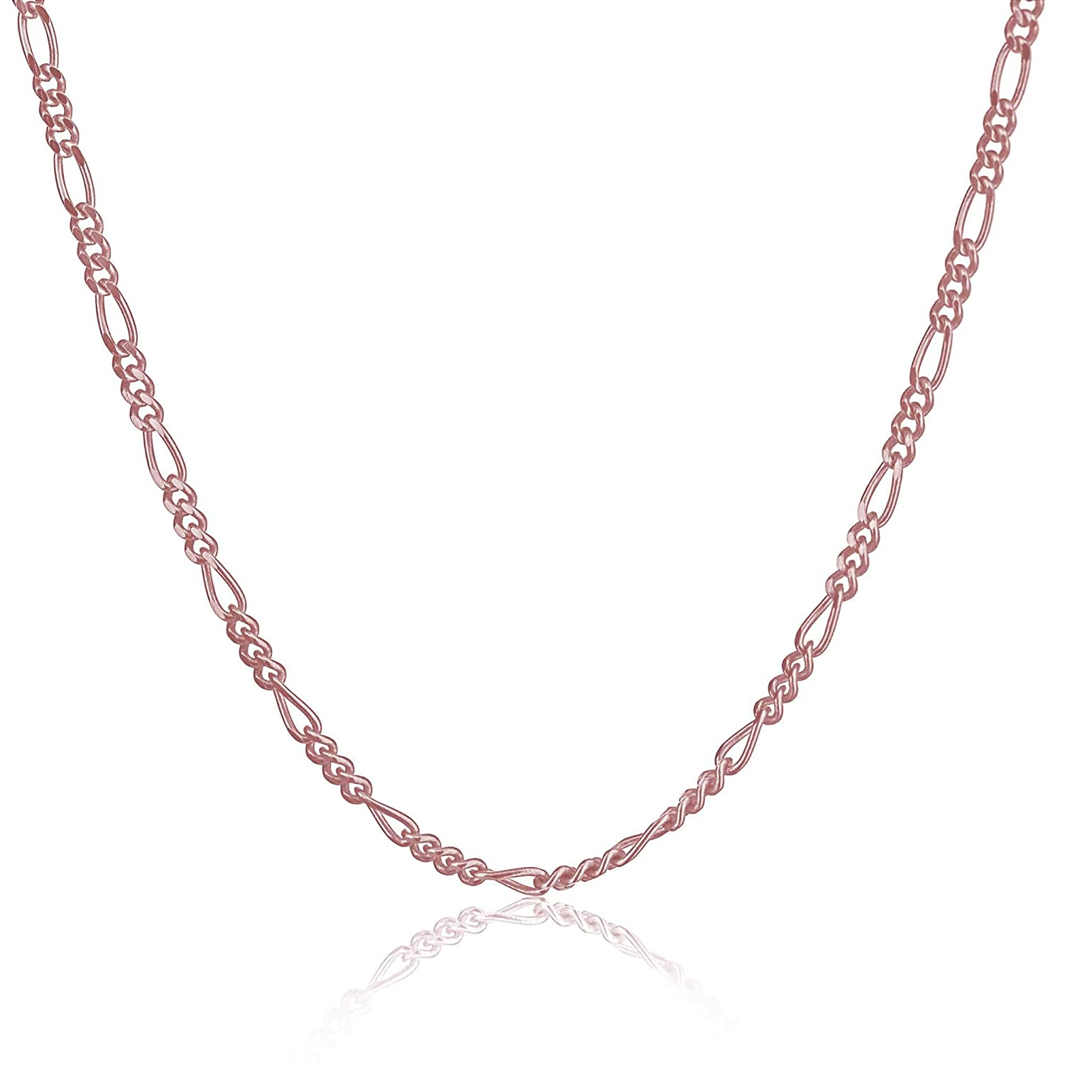 Rose Gold Plated Silver /& Sterling Silver 7-36 Inches KEZEF Creations CHFG040-11-GP 1.5mm Figaro Chain in Gold Plated Silver