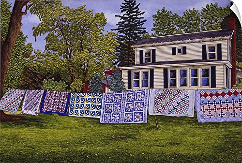 Canvas on Demand Thelma Winter Wall Peel Wall Art Print Entitled Quilts - Seven in A Row 60
