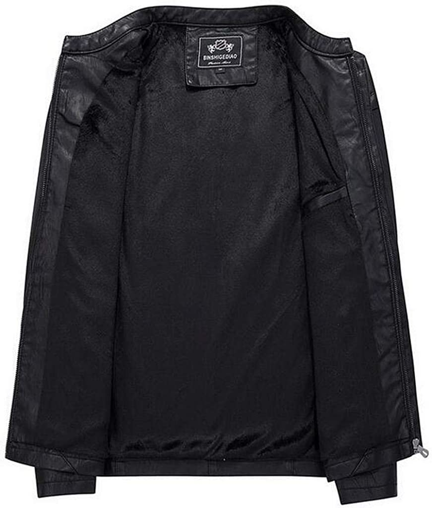 JYZJ Mens Pu Leather Warm Full-Zip Stand Collar Faux Fur Lined Moto Jacket Coat