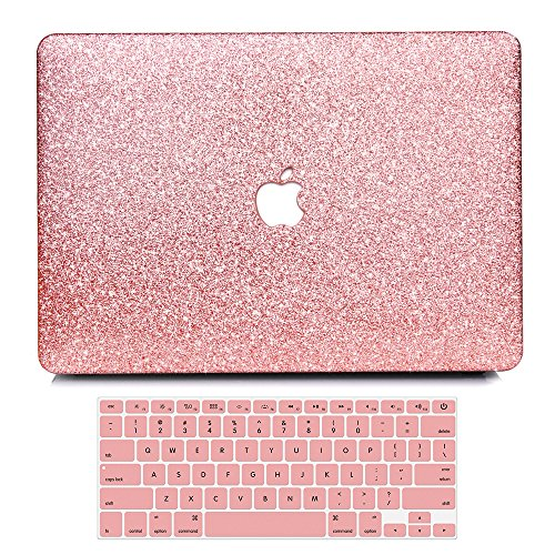 (B BELK MacBook Air 13 Inch Case, 2 in 1 Bling Crystal Smooth Ultra-Slim PC Hard Case with Keyboard Cover for Mac Air 13.3 Inch(Model: A1369&A1466, Older Version 2010-2017 Release)-Shinning Rose Gold)