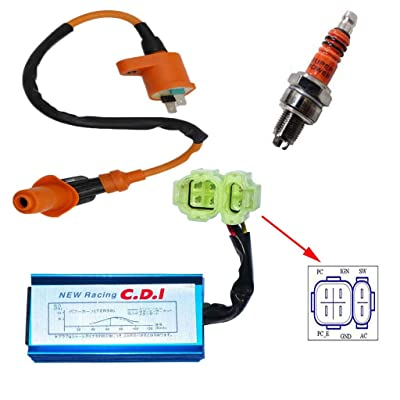 High Performance Racing Round AC Fired 6 Pins CDI Ignition Coil 3 Electrode Spark Plug for Chinese 50cc 125cc 150cc Gy6 Moped Scooter Go Kart: Automotive