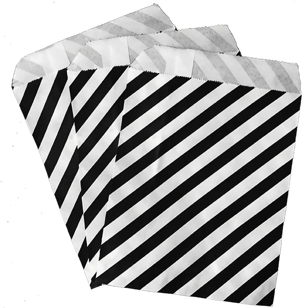 HengKe 50 Pcs White and Black Striped Paper Bags, Food Safe Party Favor Treat Bag for Sweets Candy Biscuits Nuts Chocolates Gifts Wedding Christmas Favor Candy Treat Bags