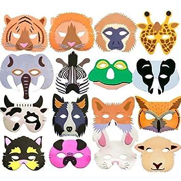 16 Foam Woodland Jungle Farm Animal Masks Childrens