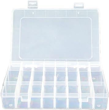 Cdet 24 Caja Organizador del Grano de la joyería Transparente Caja ...